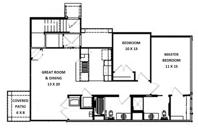 Green Wood Park Townhouses and Apartments - Floorplan - 2 Bed 2 Bath, Side by Side Lower (C Unit)