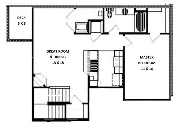 Green Wood Park Townhouses and Apartments - Floorplan - 1 Bed 1 Bath Upper (D Unit)