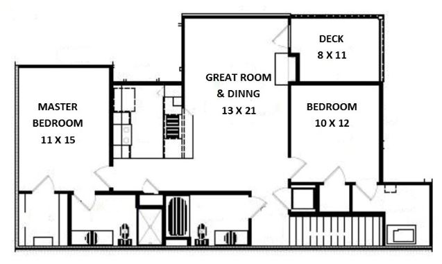 Floorplan - 2 Bed 2 Bath, Barbell Upper (E Unit) image