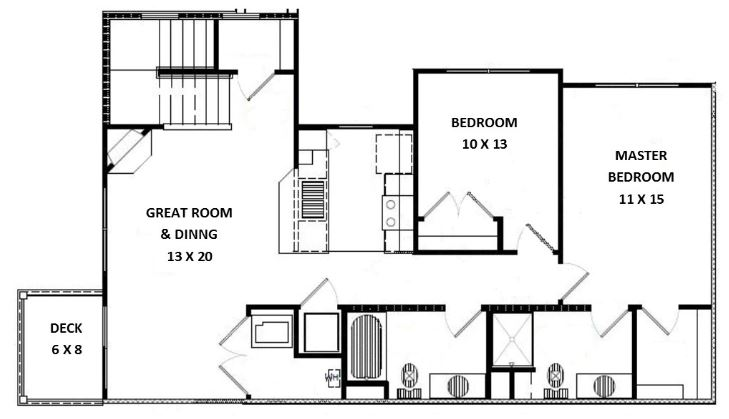 Green Wood Park Luxury Apartments & Townhomes - Floorplan - 2 Bed 2 Bath, Side by Side Upper (F Unit)