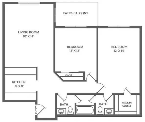 Floorplan - 2 Bed / 1 Bath  image