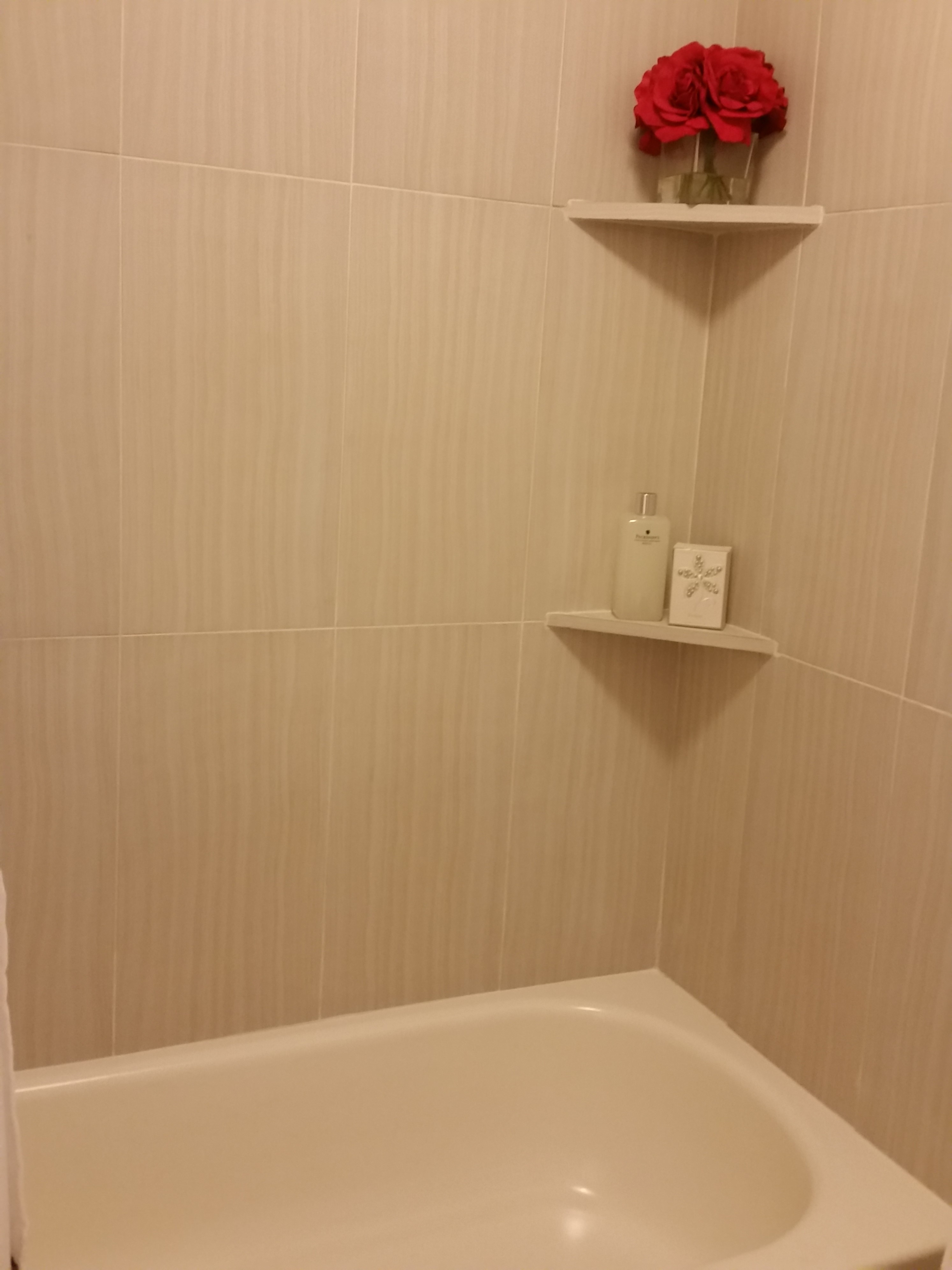 Tiled Shower at Grove on Gladstell Apartments in Conroe, Texas