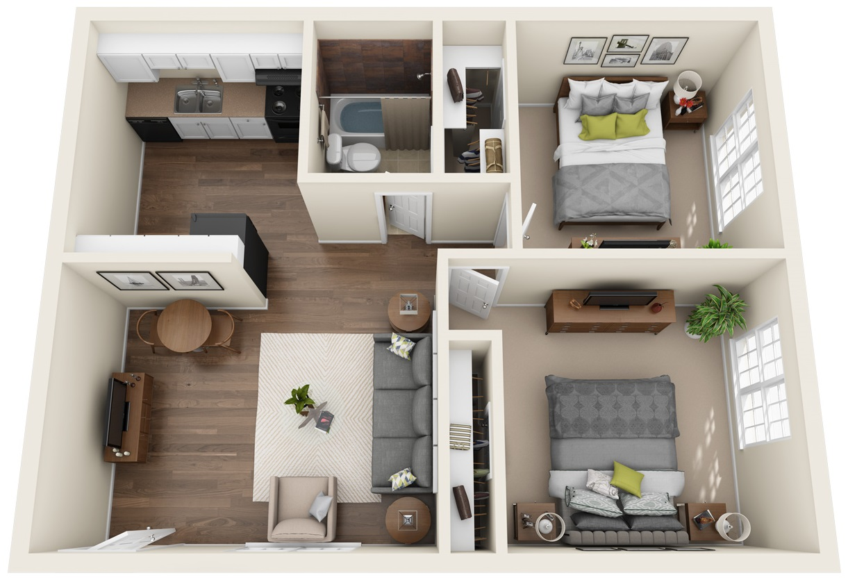 Floorplan - Two Bedroom w/ 1.5 Bath image