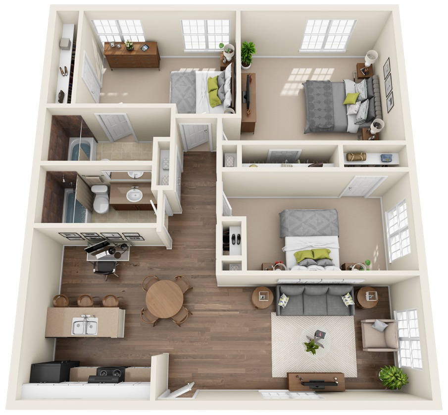 Floorplan - Three Bedroom w/ 1.5 Bath image