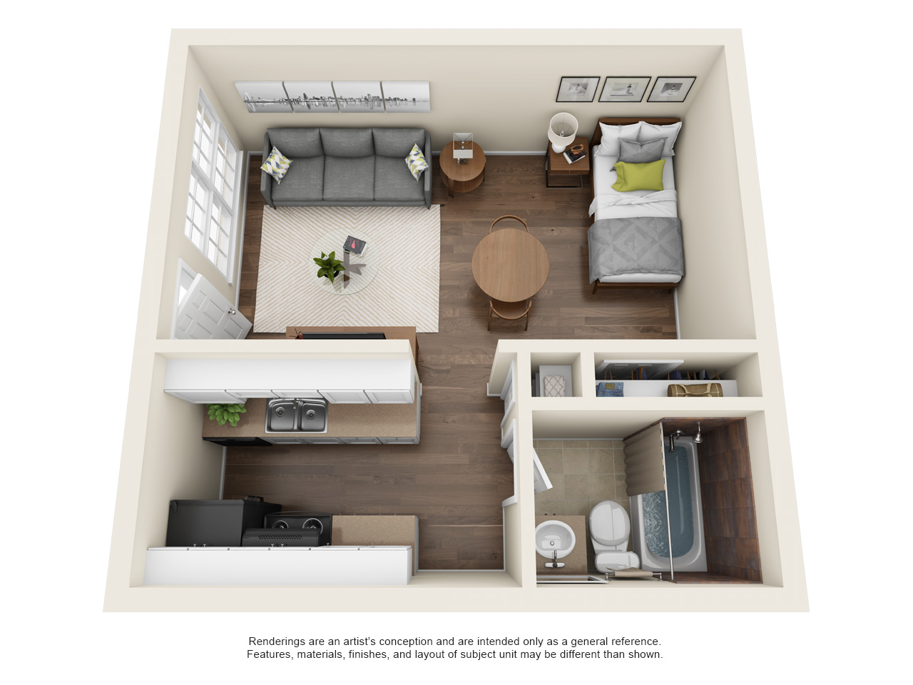 Hamilton Place Apartments - Floorplan - Studio