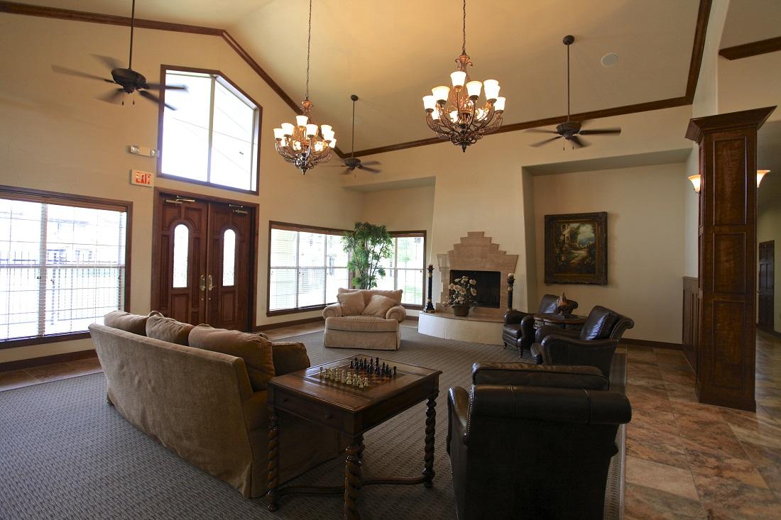 Elegant Clubhouse at The Hamlins at Cedar Creek Apartments in Kemp, Texas
