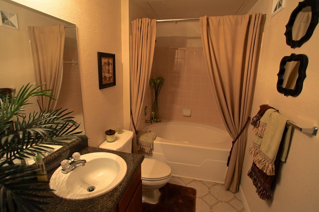 Bathroom at The Hamlins at Cedar Creek Apartments in Kemp, Texas