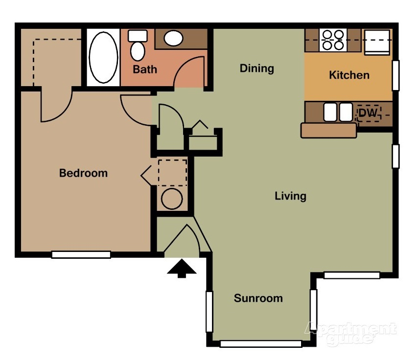 Harbor Oaks Apartments - Floorplan - 1BR