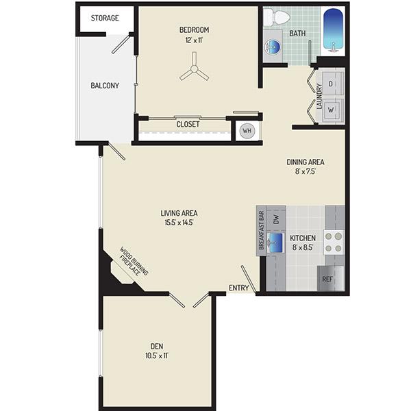 Harbour Gates Apartments - Floorplan - 1 Bedroom + 1 Bath