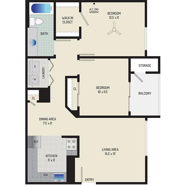 Harbour Gates Apartments - Floorplan - 2 Bedrooms + 1 Bath