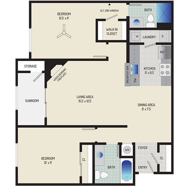 Harbour Gates Apartments - Floorplan - 2 Bedrooms + 2 Baths