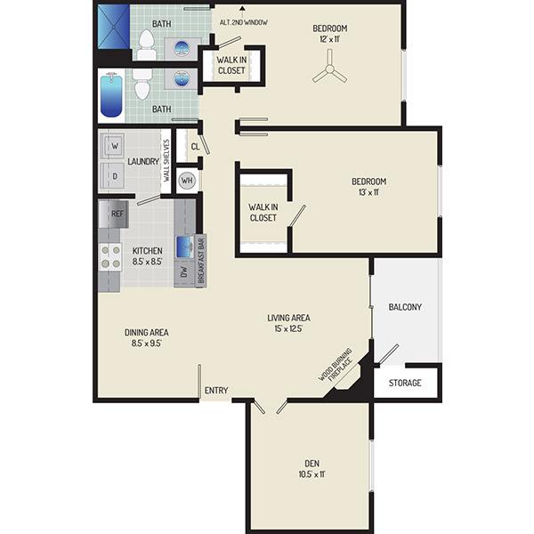 Harbour Gates Apartments - Floorplan - 2 Bedrooms + 2 Baths + Den