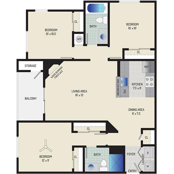 Harbour Gates Apartments - Floorplan - 3 Bedrooms + 2 Baths