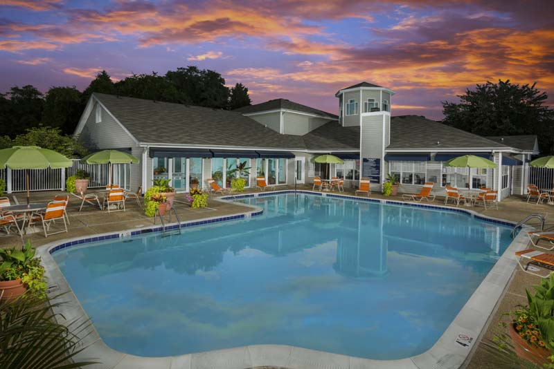 Relaxing swimming pool at Harbour Gates Apartments in Annapolis, MD