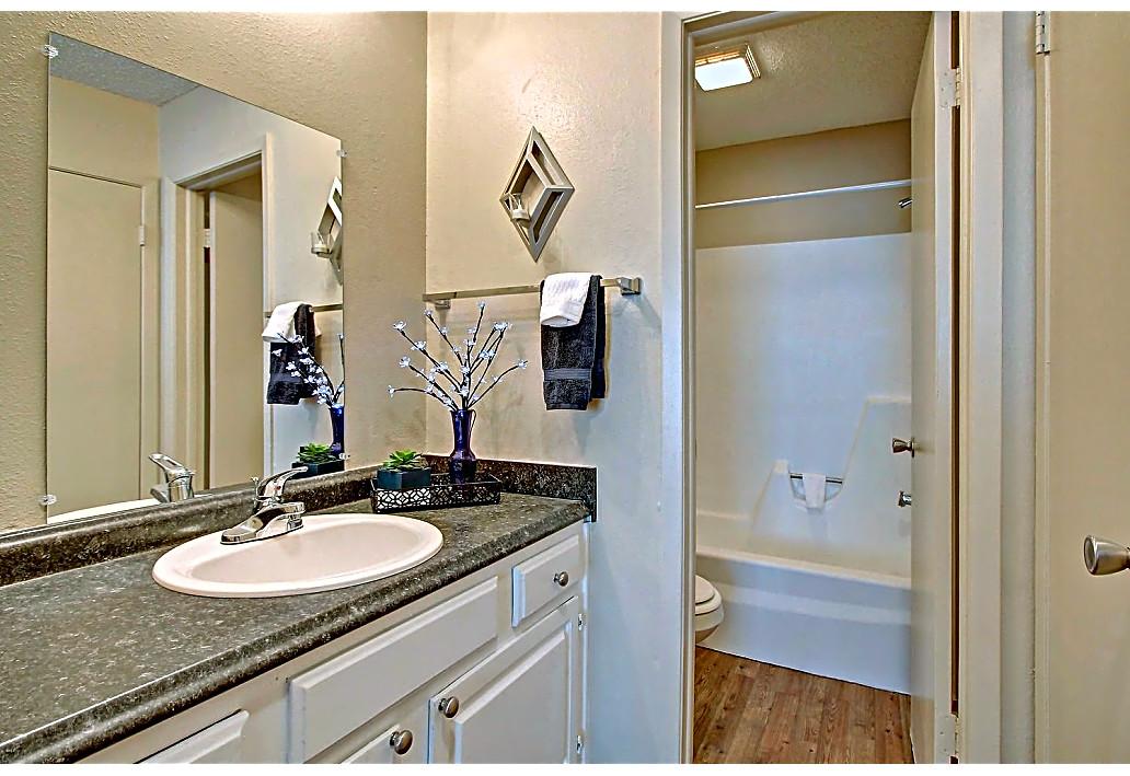 Bathroom Vanity at Harmony Glen Apartments in Tulsa, Oklahoma