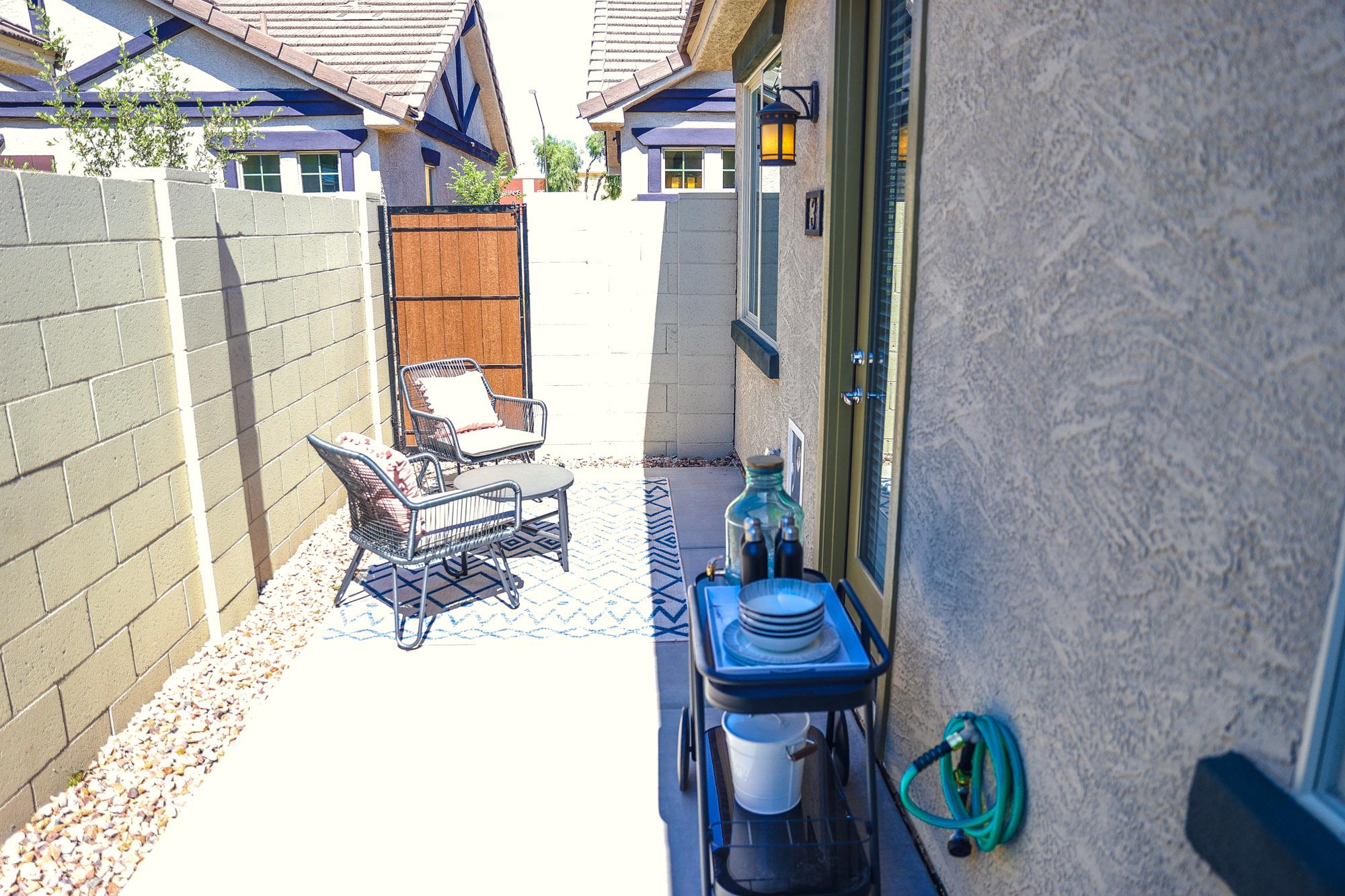 Private backyard at Village at Harvard Crossing Apartments in Goodyear, AZ