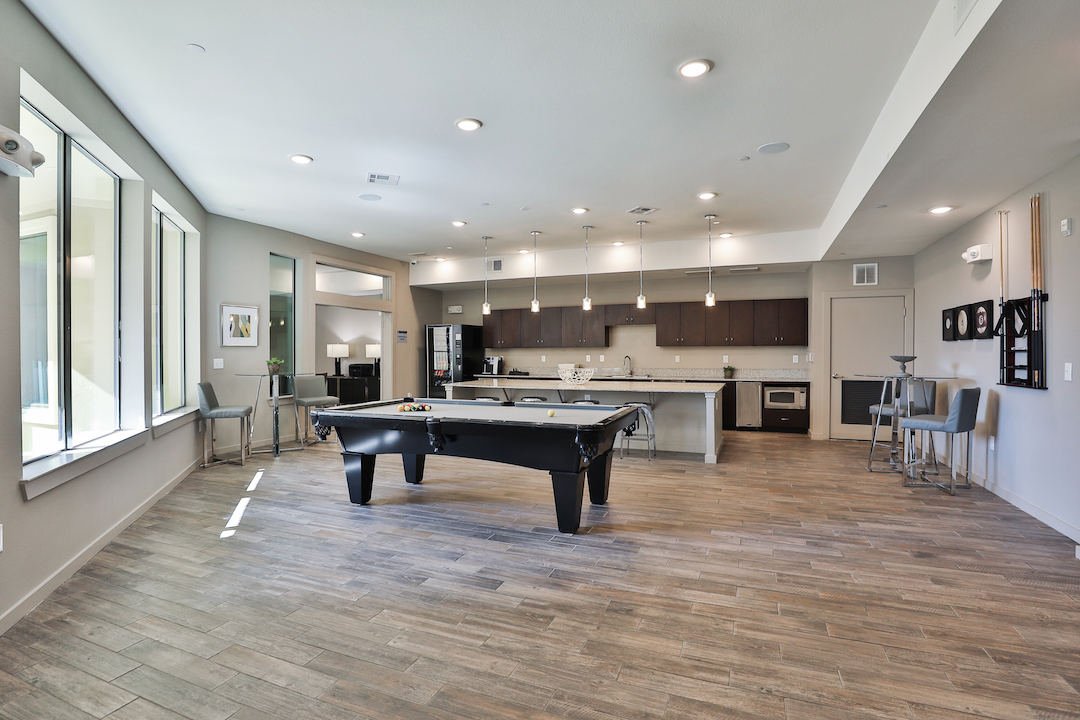 Spacious Clubroom With Billards At Haven at Main Apartments In Houston, TX