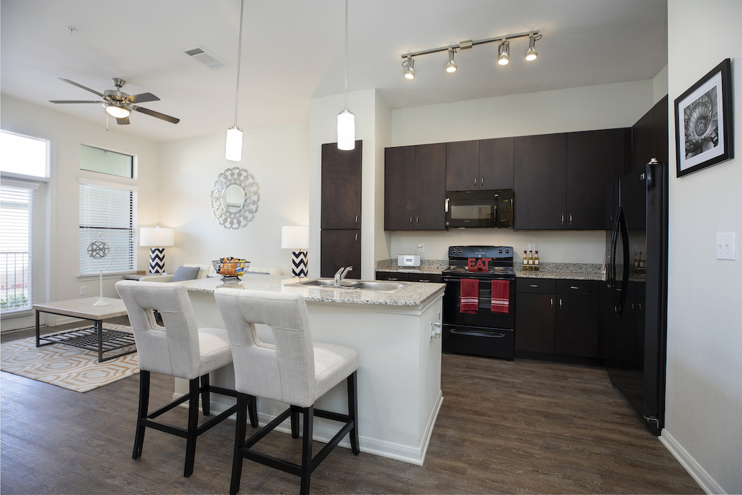 Modern Kitchens With Islands At Haven at Main Apartments In Houston, TX