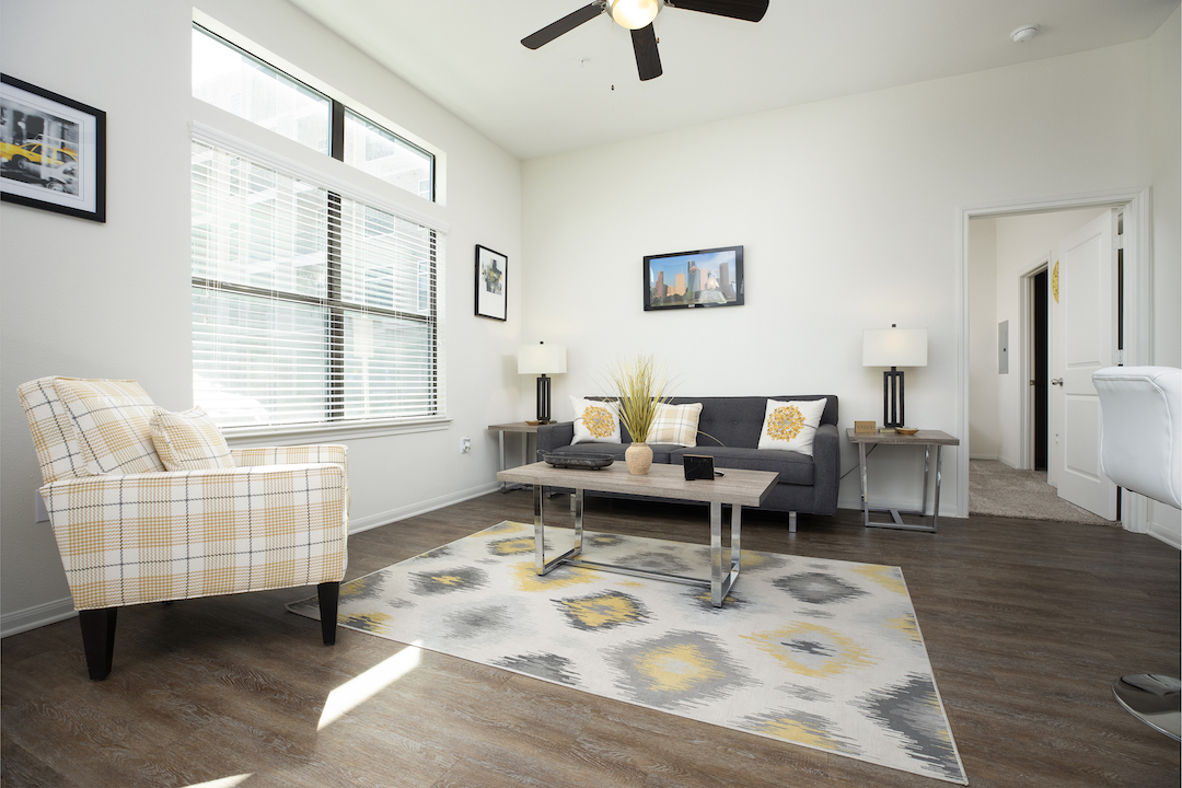Apartment Living Rooms With Ample Natural Lighting At Haven at Main Apartments In Houston, TX