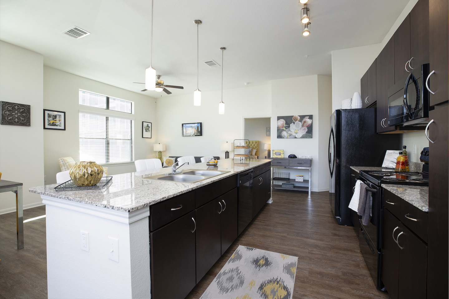 Modern Kitchens With Granite Countertops At Haven at Main Apartments In Houston, TX