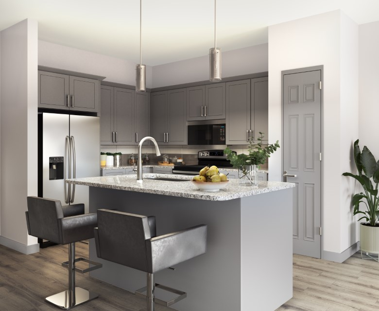 Stainless Steel Appliances and Granite Countertops At Haven At Bellaire Apartments In Richmond, TX