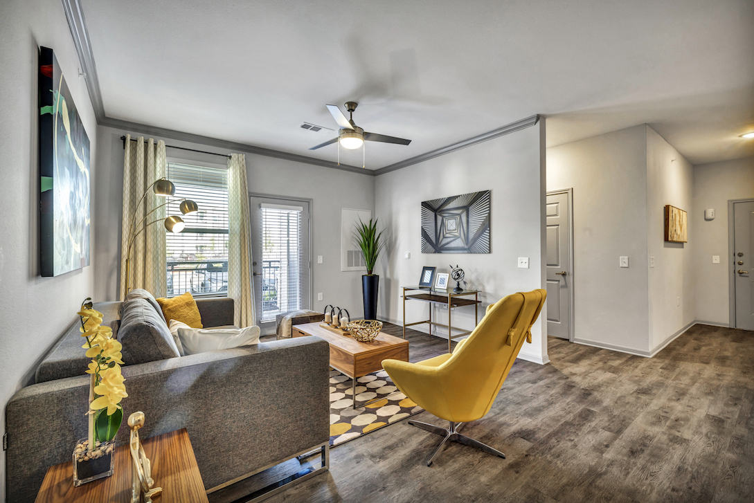 Living Room at Haven at Bellaire Apartments in Richmond, TX