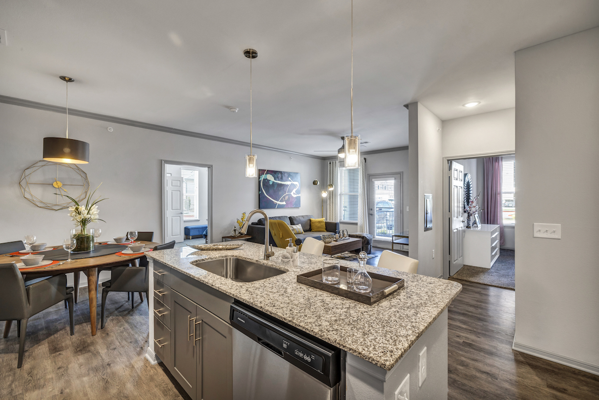 Kitchen Island at Haven at Bellaire Apartments in Richmond, TX