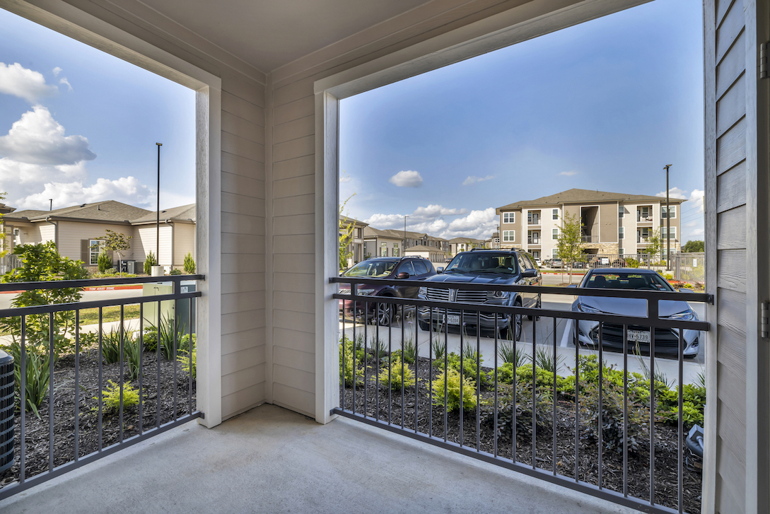 Patio at Haven at Bellaire Apartments in Richmond, TX