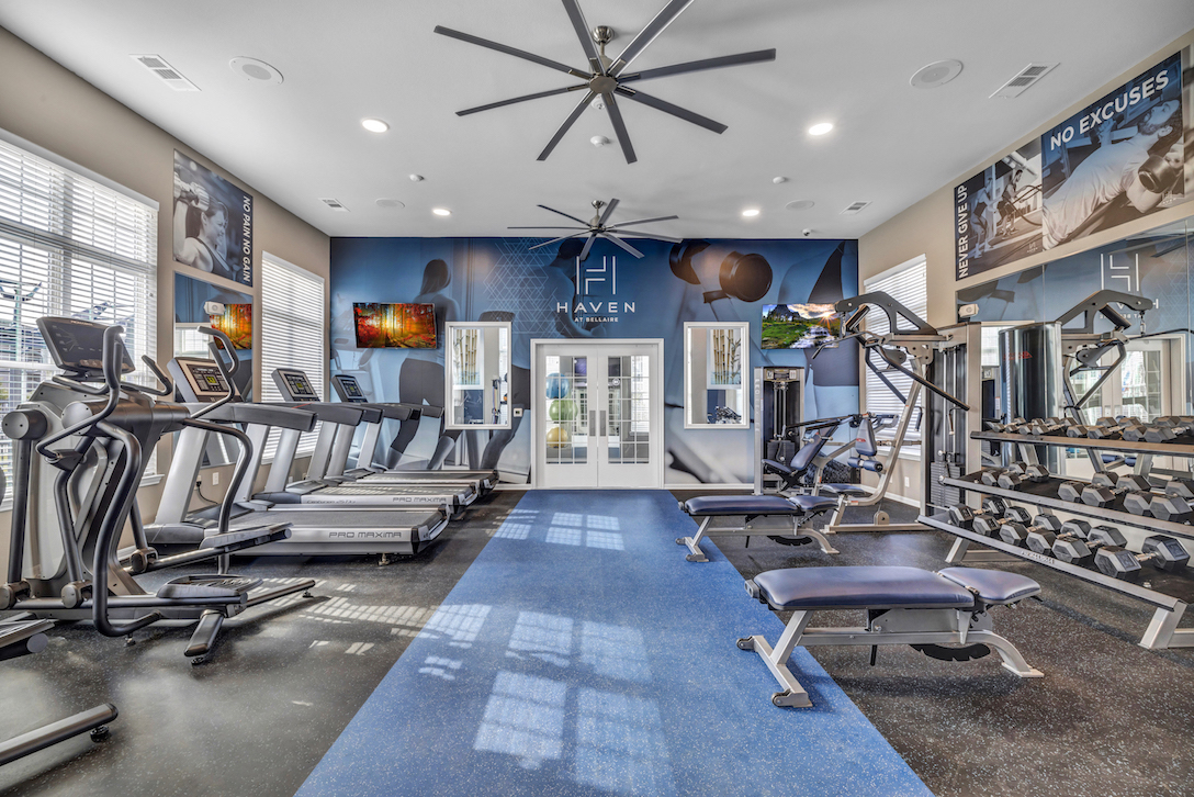 Fitness Gym at Haven at Bellaire Apartments in Richmond, TX