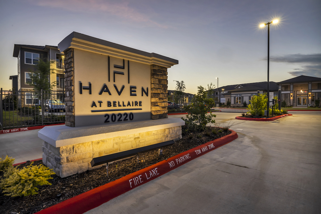 Welcome Sign at Haven at Bellaire Apartments in Richmond, TX