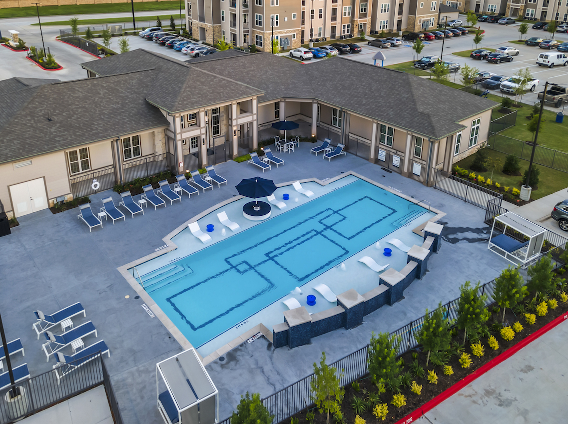 Top View Swimming Pool at Haven at Bellaire Apartments in Richmond, TX