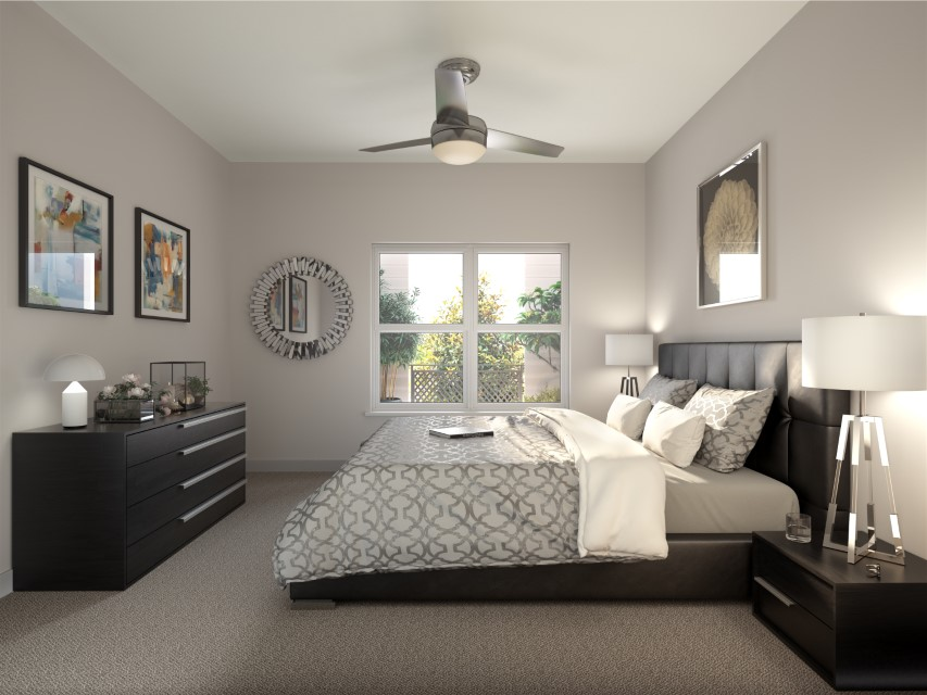 Carpeted Bedrooms With Large Windows At Haven At Bellaire Apartments In Richmond, TX