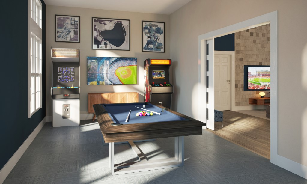 Pool Table And Arcade Games In Gameroom At Haven At Bellaire Apartments In Richmond, TX