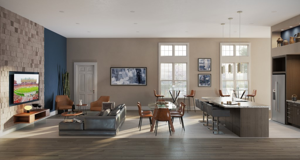 Clubroom With Kitchen And Media Lounge At Haven At Bellaire Apartments In Richmond, TX