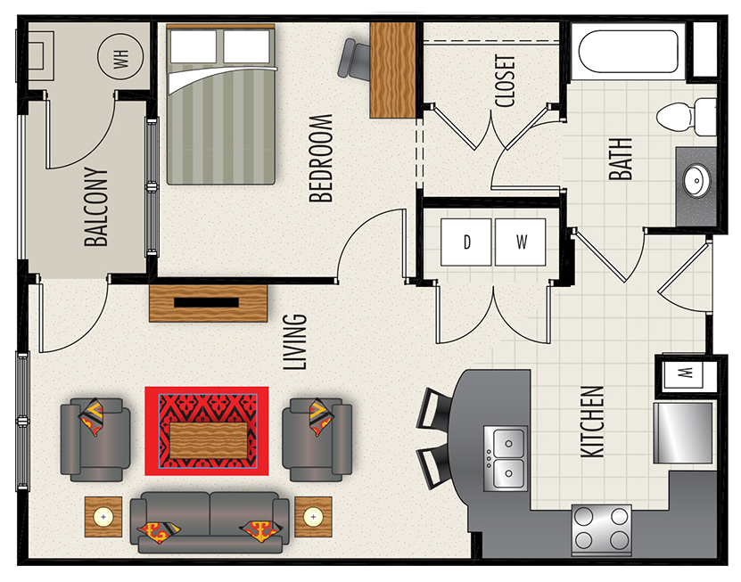 Heights at Lasalle Apartments - Floorplan - A1