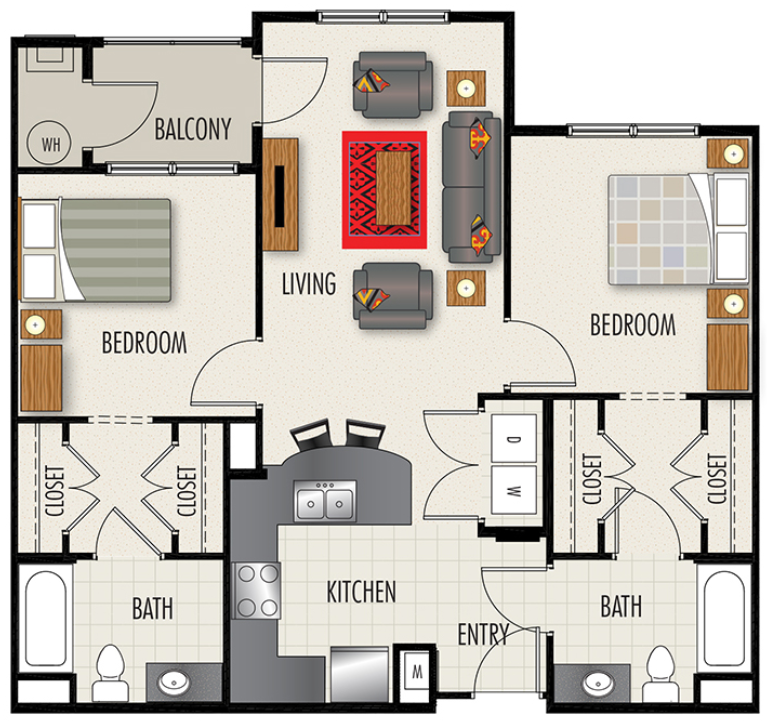 Heights at Lasalle Apartments - Floorplan - B1-AC