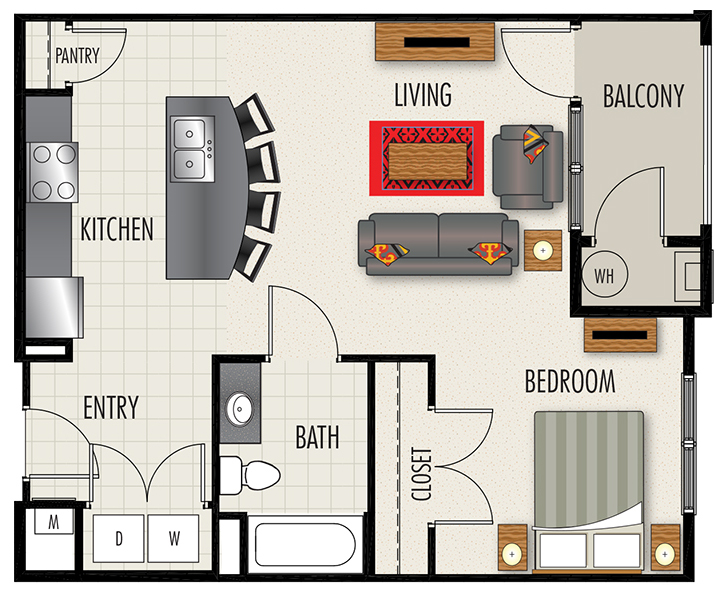 Heights at Lasalle Apartments - Floorplan - S2