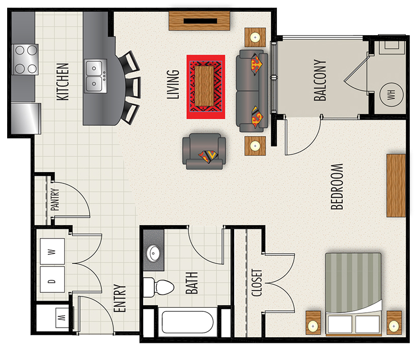 Heights at Lasalle Apartments - Floorplan - S3