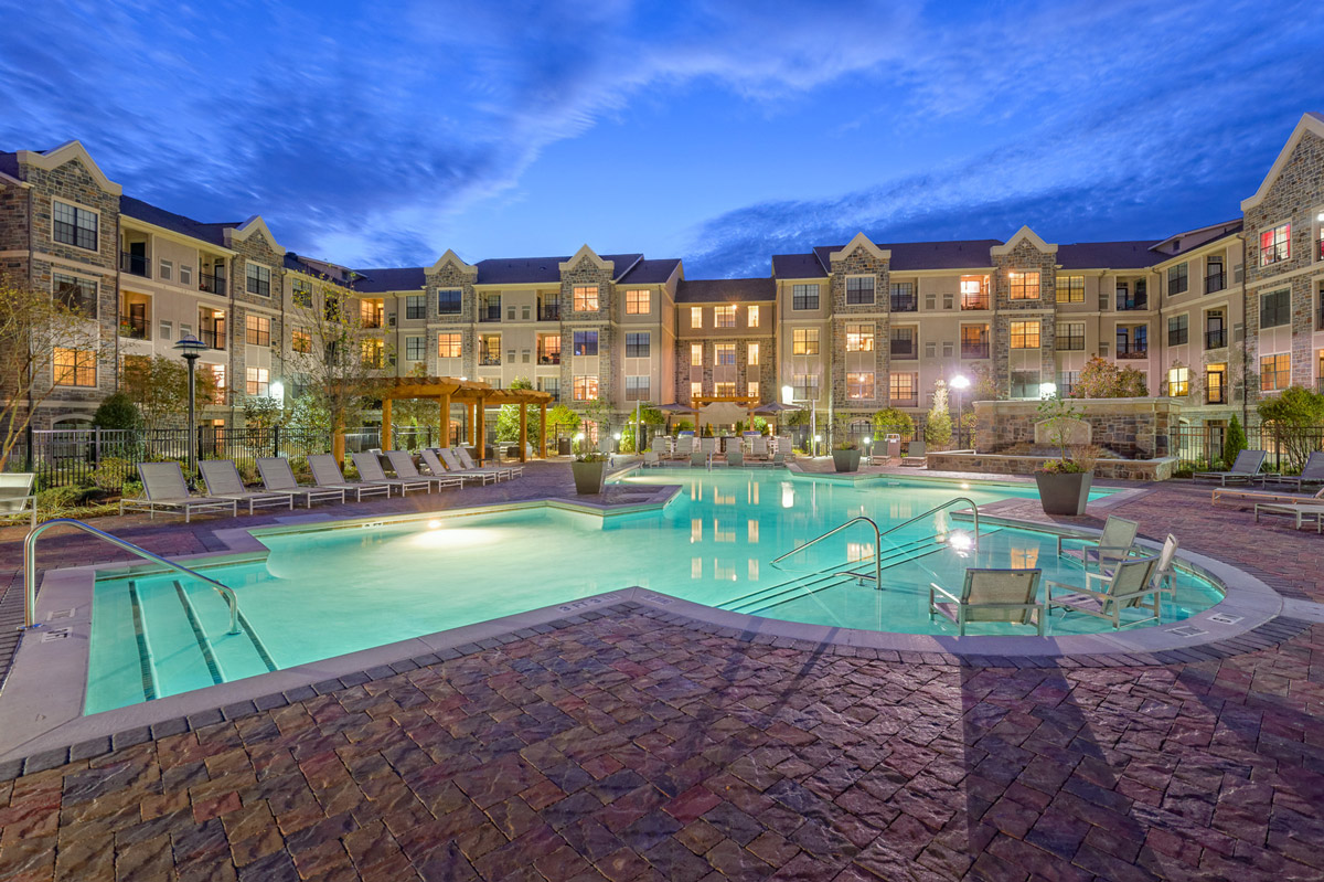 Sparkling Pool at the Heights at Lasalle Apartments in Durham, NC