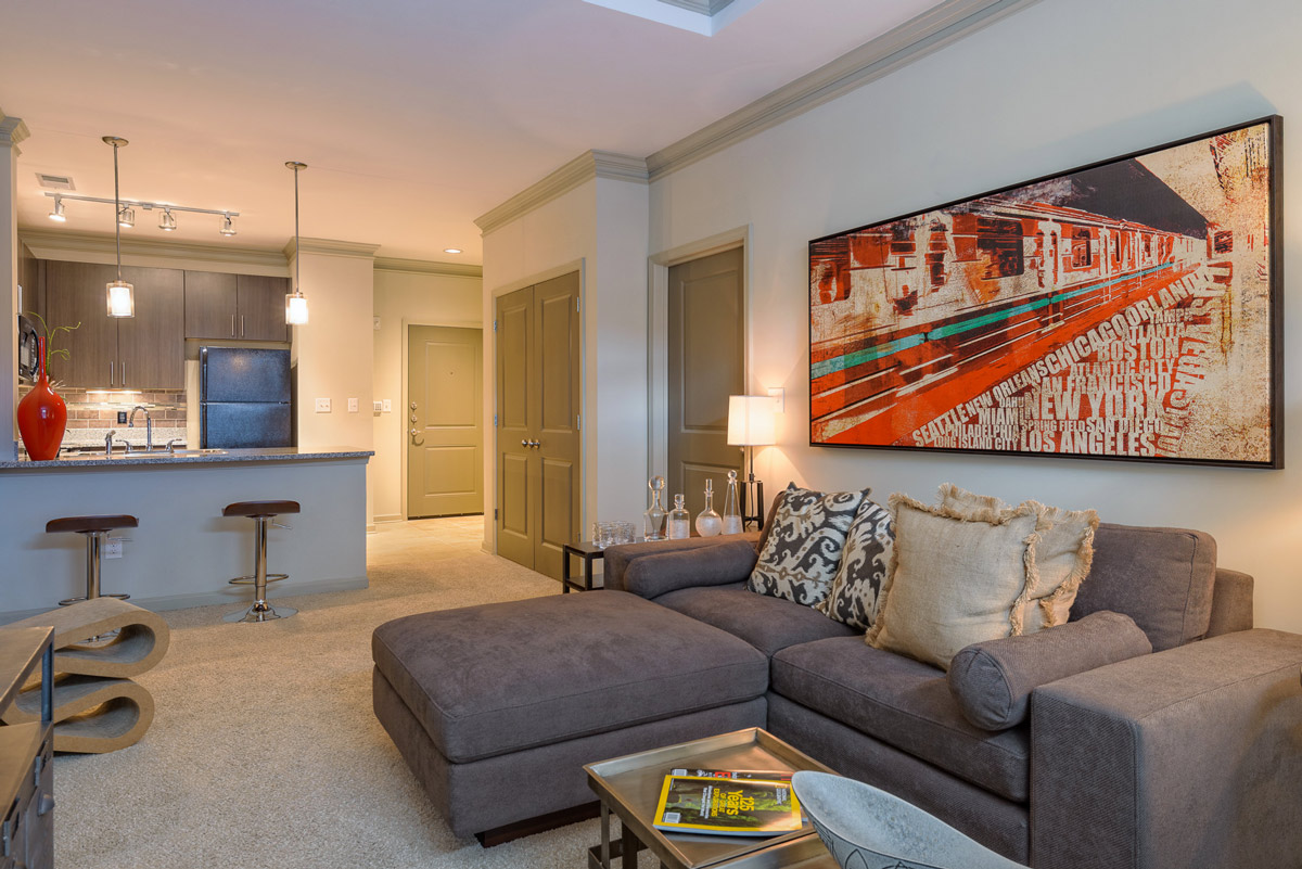 Living Room at the Heights at Lasalle Apartments in Durham, NC