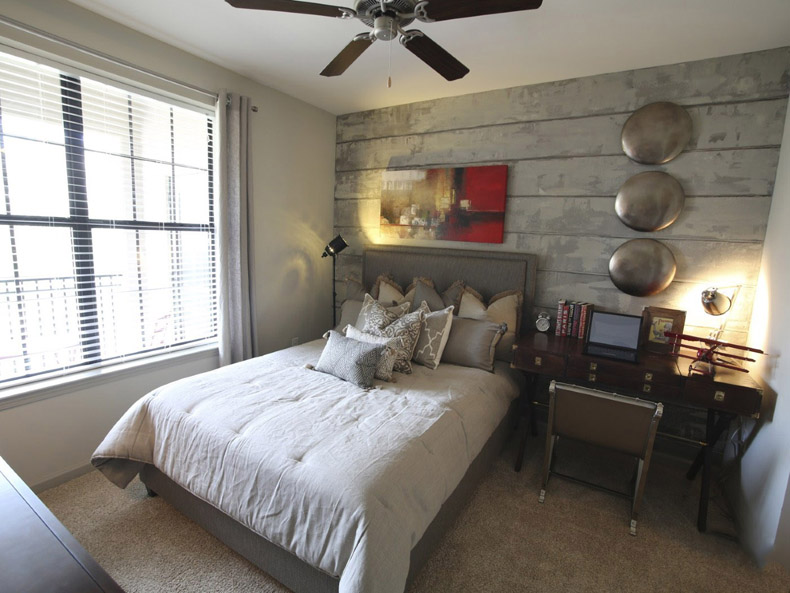 Bedroom at the Heights at Lasalle Apartments in Durham, NC