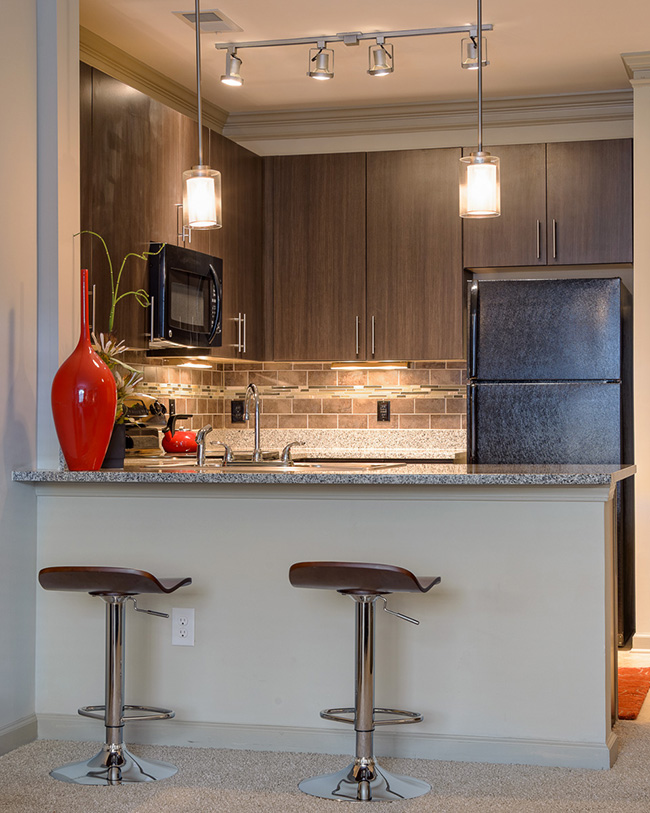 Kitchen at the Heights at Lasalle Apartments in Durham, NC