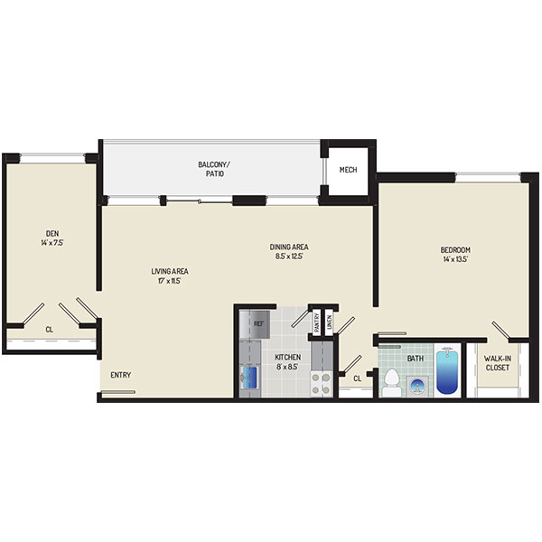 Heritage Square Apartments - Floorplan - 1 Bedroom + 1 Bath