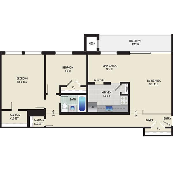 Heritage Square Apartments - Floorplan - 2 Bedrooms + 1 Bath