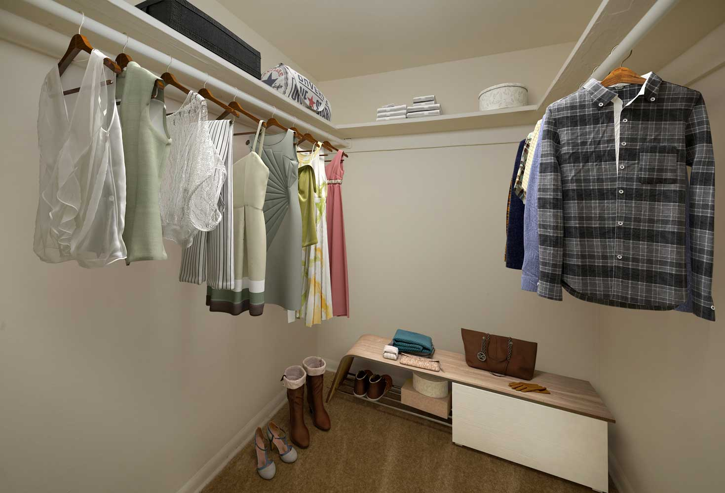 Spacious walk-in closets available at Heritage Square Apartments in New Carrollton, MD