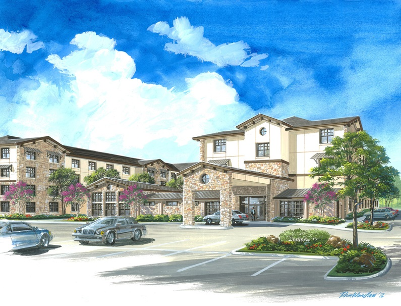 Exterior Rendering at The Heritage Village Apartments in Hurst , TX