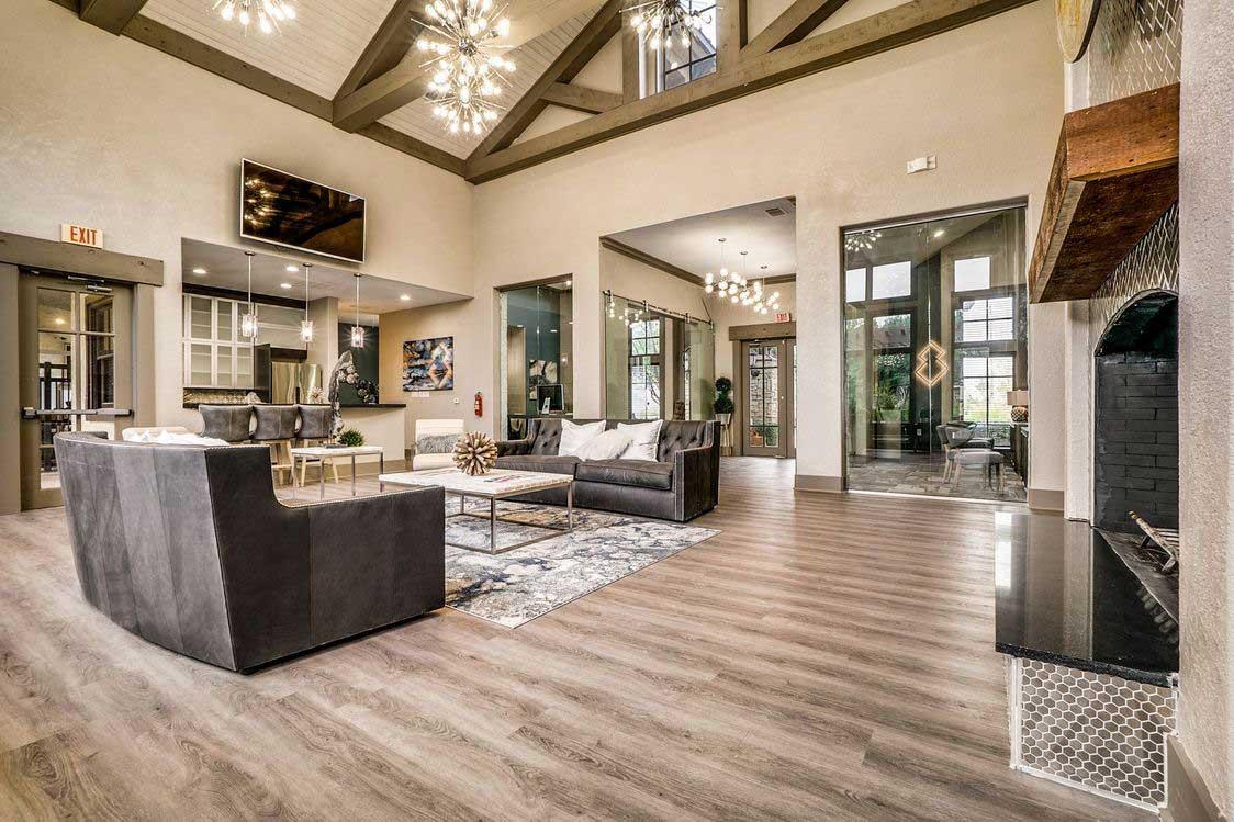 Indoor Community Kitchen at Hidden Lakes Apartments in Haltom City, Texas