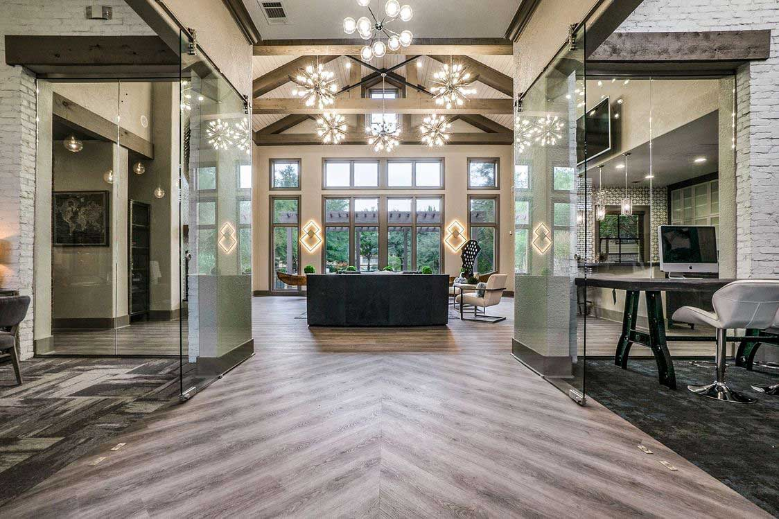 Grand Lobby with Views at Hidden Lakes Apartments in Haltom City, Texas