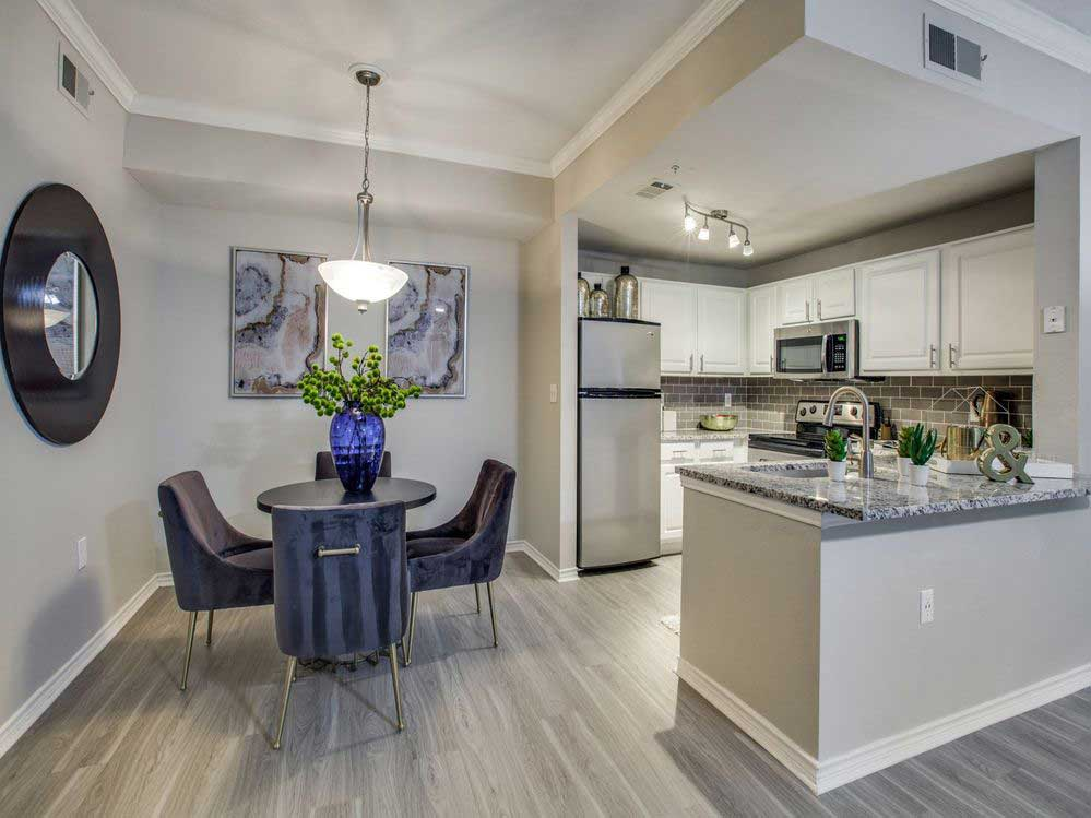 Eat-In Kitchen at Hidden Lakes Apartments in Haltom City, Texas