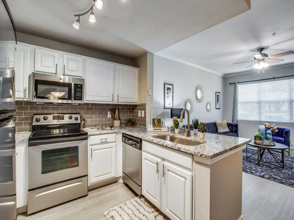 Ample Kitchen Cabinet Storage at Hidden Lakes Apartments in Haltom City, Texas